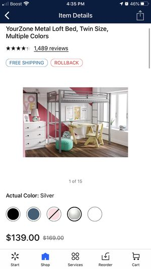 Metal loft bed frame (twin) for Sale in Plant City, FL