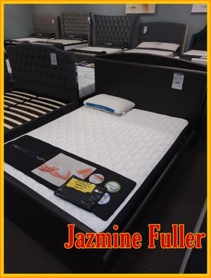 Black Queen size platform bed frame with Pillow top mattress included for Sale in Glendale, AZ