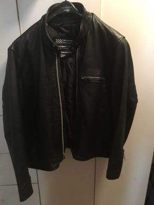 Leather motorcycle jacket w zip out lining Heavy weight Zipper sleeves New unused condition for Sale in North Bergen, NJ