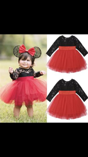 Black lace Top with Tulle Tutu Red Skirt with Bow Belt for Sale in Orange, CA