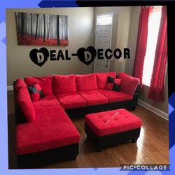 Red/Black Micro Fiber Sectional for Sale in Atlanta,  GA
