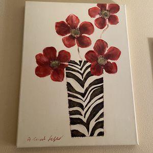 Zebra Flower Vase Wall Picture for Sale in Santa Clarita, CA