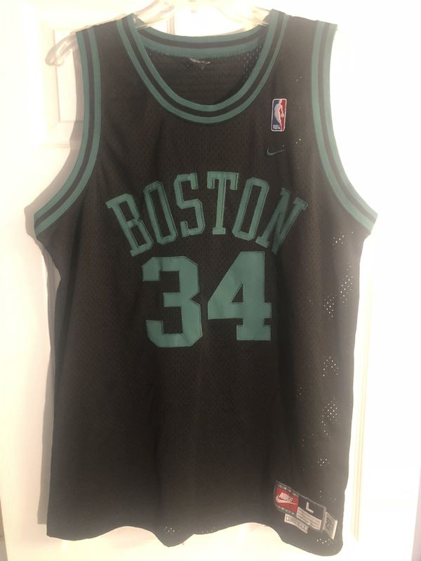 Paul Pierce Nike Rewind NBA Jersey Boston Celtics #34 Sz L Black Bird Vtg