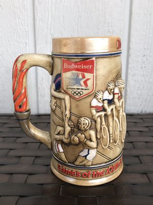 Vintage BUDWEISER Beer Stein Mug 1984 Los Angeles Olympics Cerveza Weight Lifting Boxing Soccer for Sale in Santa Ana, CA