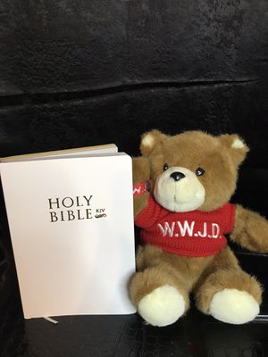 W.W.J.D Plush stuffed bear & Free Gift with purchase White holy Bible! New! for Sale in Savannah, GA