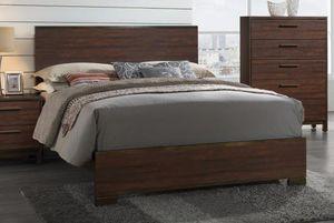 4PC QUEEN BEDROOM SET: QUEEN BED FRAME, DRESSER, MIRROR, NIGHTSTAND RUSTIC TOBACCO COLOR for Sale in Antioch, CA