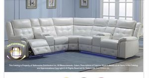 White recliner sectional with led lights brand new for Sale in Chicago, IL