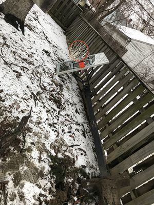 One year old basketball hoop, no wheels needs to be cemented into the ground. for Sale in Brooklyn, OH