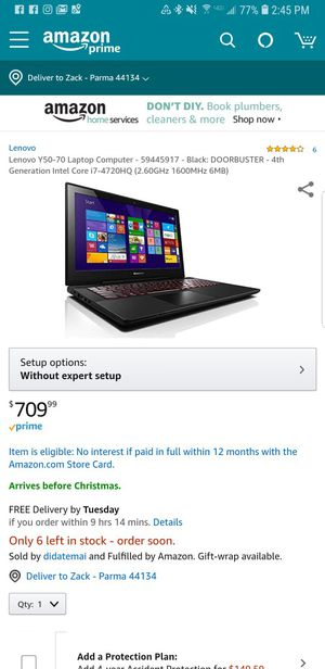Fast laptop! Lenovo y50-70 for Sale in Parma, OH
