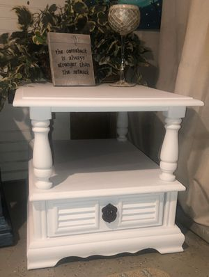 Solid wood refurbished end / side table or nightstand white chalk painted for Sale in Somerset, MA