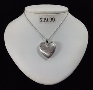 "Sterling Silver 24"" Chain with Stainless Steel ""Grandma"" Locket & Pink Stones for Sale in Kent, WA"