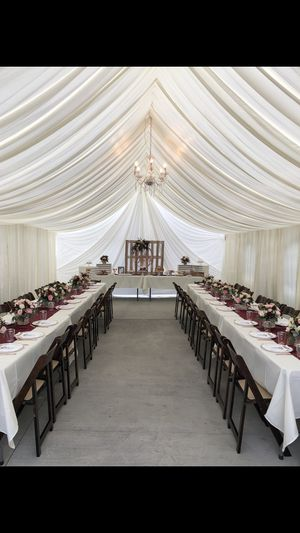 20x40 canopy with ivory draping. Fruit wood chairs, ivory linen for Sale in Pico Rivera, CA