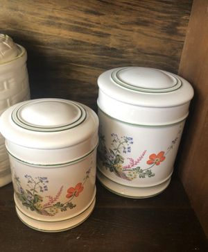 Pair (2) Ceramic Hand Painted Canisters W/Lids Made In Portugal for Sale in Punta Gorda, FL