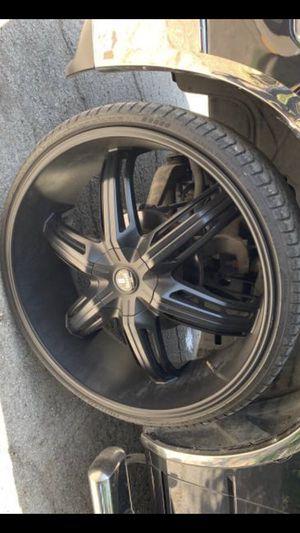 "28"" DUB Black Rims and Tires 5 Lug wheels Dodge Ram 1500 Dubs 28s 28 2018 Rines 2017 y 2016 llantas 2005 Ram 2006 Durango 2007 stocks 2009 stock 2008 for Sale in Dallas, TX"