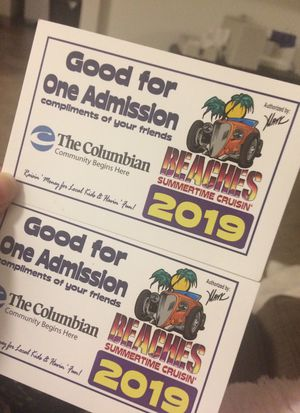 Beaches Summertime cruisin' tickets for Sale in Washougal, WA