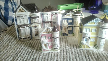 Ceramic Victorian house storage containers ( set of five) for Sale in Hanford,  CA
