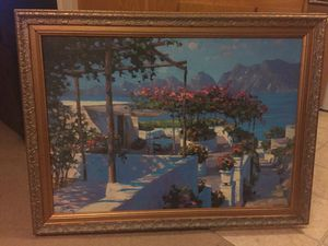 Painting - Mediterranean Terrace View with gold frame for Sale in Los Angeles, CA