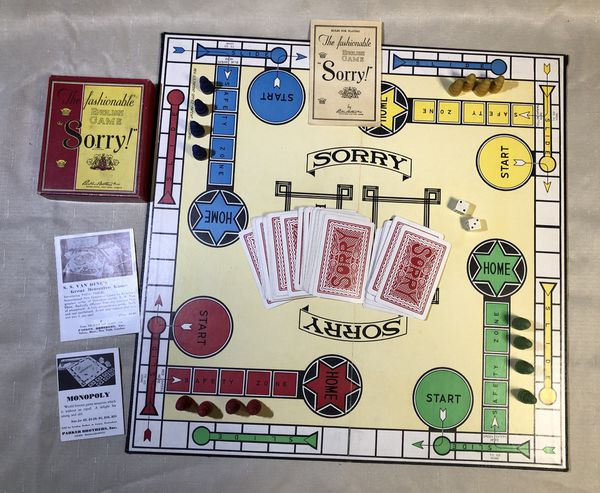 1934 Parker Brothers Sorry Board Game Complete For Sale In New
