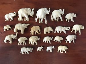African / Asian ivory colored BONE / RESIN elephants for Sale in Frederick, MD