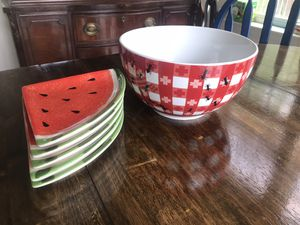 Large Picnic bowl and watermelon side plates for Sale in Leesburg, VA