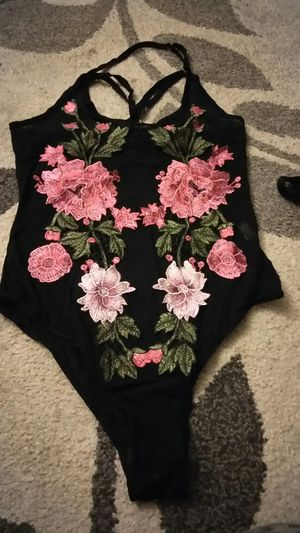 Cute black see through with flowers one pice blouse for Sale in San Jose, CA