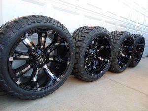 22X12 Black Chrome Inserts Rims & LT 33 12.50 22 Mud Tires *5X5.5*5X5 for Sale in Aurora, CO