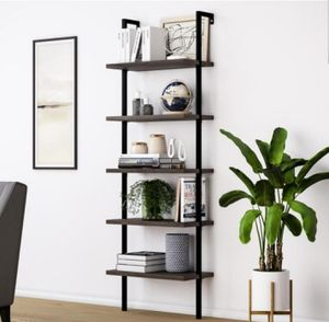 Nathan James Theo Warm Nutmeg 5-Shelf Ladder Bookcase with Metal Frame for Sale in Wylie, TX