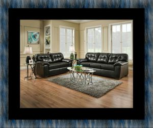 Black bonded sofa and loveseat for Sale in Fairfax, VA
