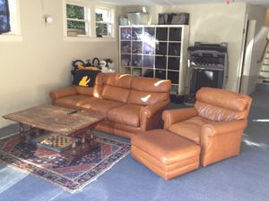 Leather couch, chair, and foot-rest/ottoman for Sale in Piedmont, CA