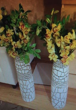 2 Ceramic Beautiful Tall Vases with Flowers for Sale in Schaumburg, IL