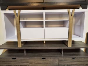 TV Stand up to 70in TVs, White and Dark Taupe for Sale in Fountain Valley, CA