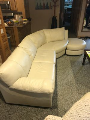 Leather Sectional with Ottoman for Sale in Ocean Gate, NJ