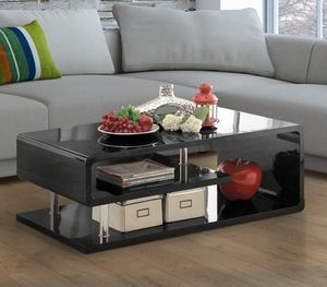 2 Pc Coffee Table Set in Black with Chrome for Sale in Ontario, CA