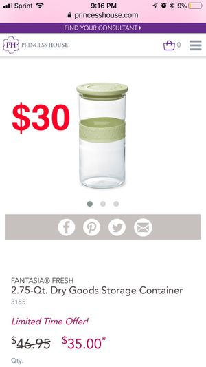 Princess house Fantasia fresh 2.75-qt dry goods storage container for Sale in Cicero, IL