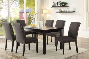 7 PIECE CHARCOAL GREY ESPRESSO DINING ROOM TABLE SET NAILHEAD TRIM / COMEDOR SILLAS for Sale in Downey,  CA