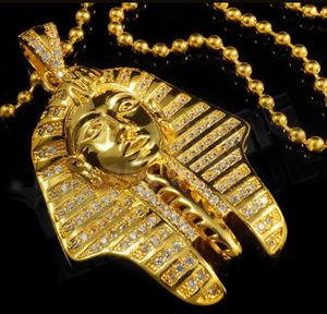 18k Gold Silver King Tut Pharaoh MINI Simulated Diamond Pendant Hip Hop Chain for Sale in Los Angeles, CA