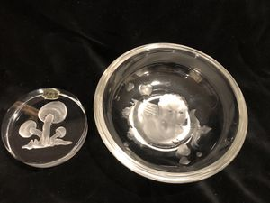 Used, Verlys glass cherub bowl & Val St Lambert Belgium mushroom paperweight for Sale for sale  Puyallup, WA