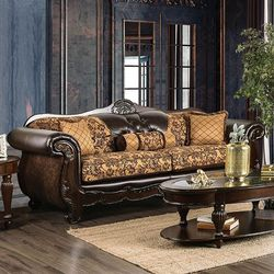 TRADITIONAL SLEIGH SOFA TAN DARK BROWN COUCH - SILLON for Sale in San Diego,  CA