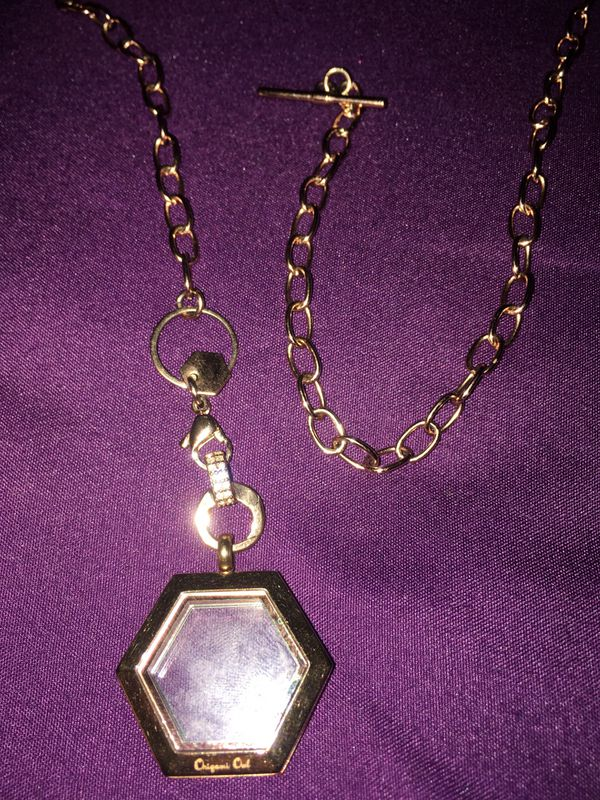 Origami Owl necklace ,locket an charms