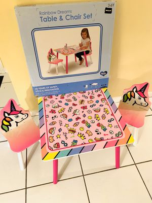 """Delta Children Kids Chair Set and Table """"Rainbow dreams"""" Unicorn 🦄 for Girls - Ages 3-6. Table Dim. 24x24x18"""" Just assembled & ready to go! ✔️ for Sale in Boynton Beach, FL"""