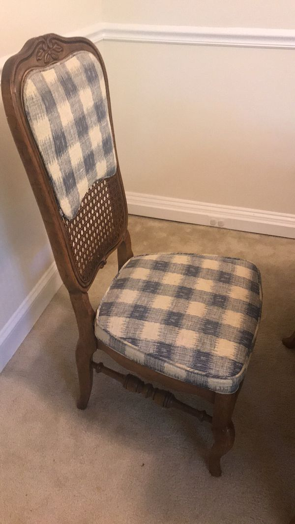 Set of 6 Rattan Weave Antique Dining Chairs