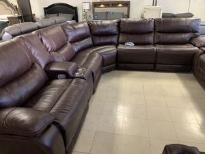 Sectional Take it home today Sofa Top grain leather power recliner USB outlet for Sale in Madera, CA