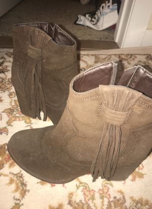 Brown fringe booties for Sale in Columbus, OH