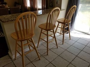 """3 counter/bar stools, solid wood, excellent condition, 29"""" floor to seat, 360 swivel, high back. for Sale in Philadelphia, PA"""