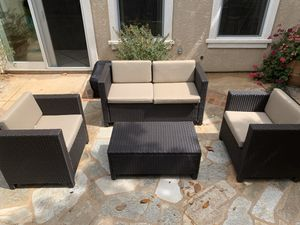 New, just assembled 4 piece Rattan Sofa seating group with cushions for Sale in Clovis, CA