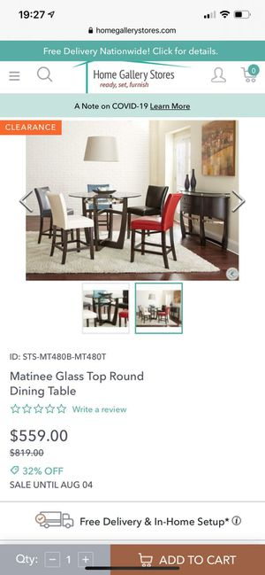 Matinee glass top dining table for Sale in Washington, DC