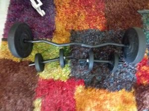 CURL BAR SOLID STEEL BAR AND DUMB BELLS CAP WITH AND WEIGHTS BRAND NEW for Sale in Opa-locka, FL