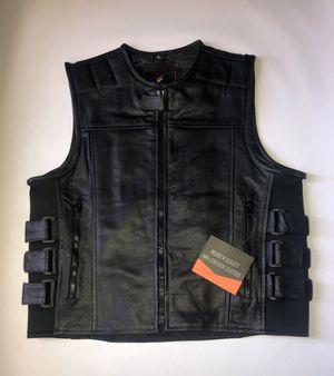 Men's SWAT tactical style motorcycle biker Leather Vest for Sale in Woodbridge, VA