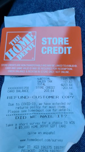 THE HOME DEPOT STORE CREDIT $203 FOR $150 for Sale in Glendale, CA