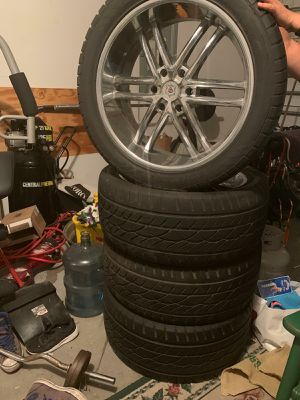 "Four 22"" chrome rims and Cooper brand tires for Sale in Winter Garden, FL"